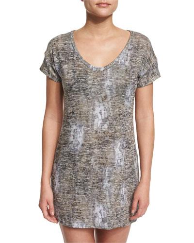 Glam Camo-Print Short-Sleeve Jersey Coverup