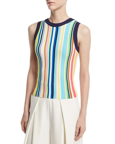 Vertical-Striped Ribbed Shell, Multi