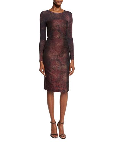 Varna Jacquard-Print Dress, Bordeaux