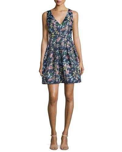 Devon Sleeveless V-Neck Party Dress, Navy