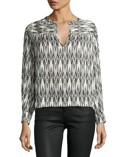 Split-Neck Ikat-Print Blouse, White