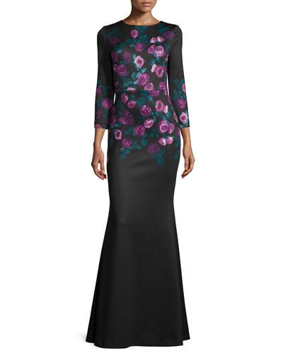 3/4-Sleeve Floral-Print Mermaid Gown