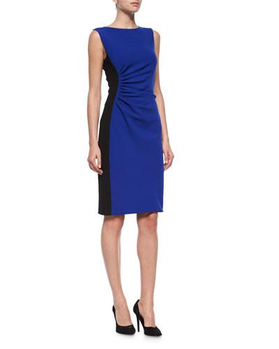 Laura Sleeveless Ruched Sheath Dress, Cobalt/Black