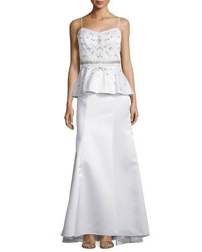 Sleeveless Peplum-Waist Embellished Gown, White