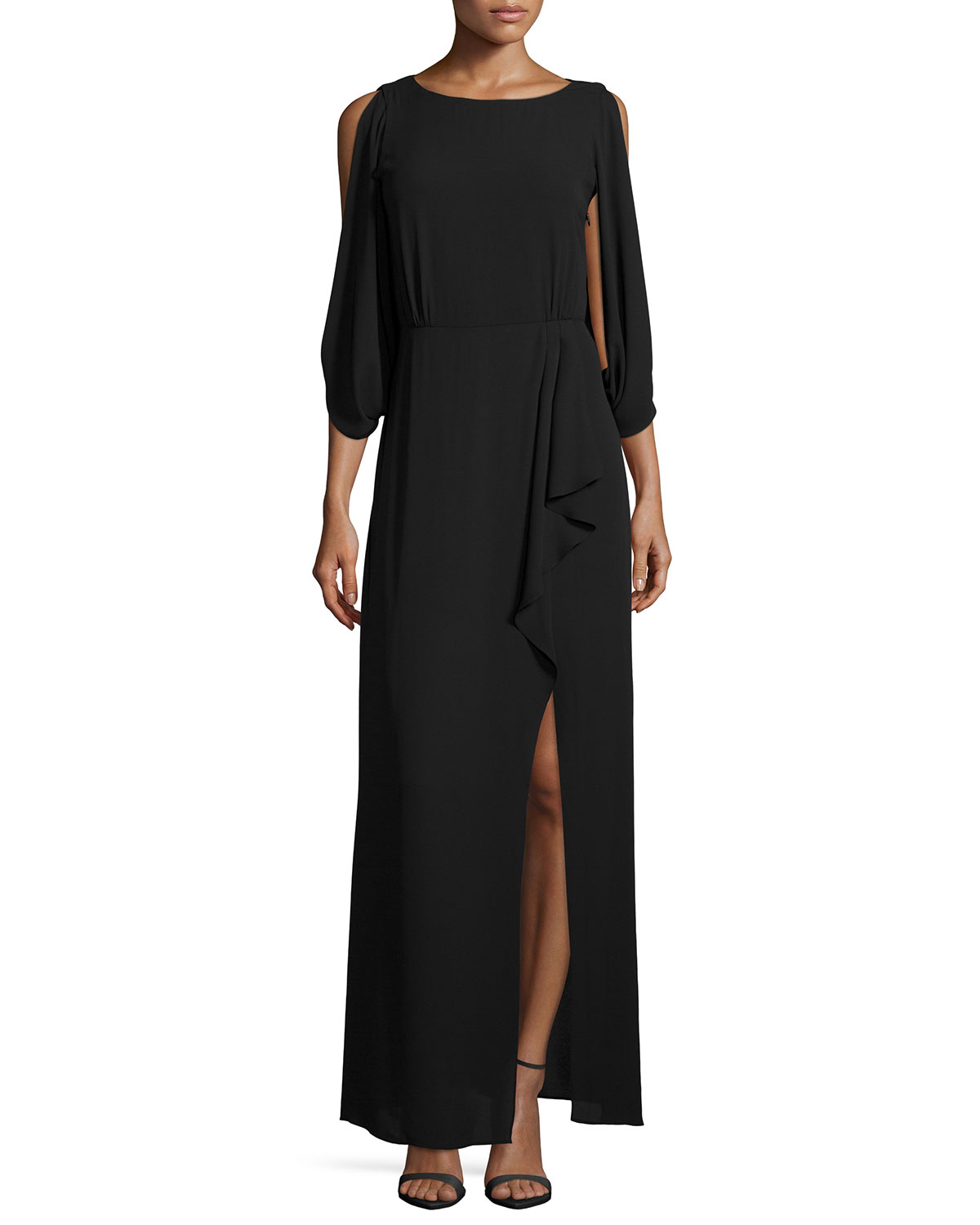 3/4-Sleeve Faux-Wrap Dress with Sequined Back