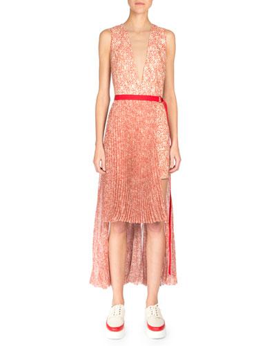 Sleeveless Split-Hem Belted Dress, Red/Anemone