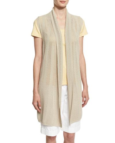 Mesh Striped Vest, Bisque