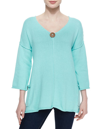 Sunrise Double-Knit Tunic w/ Jersey Pockets, Mint