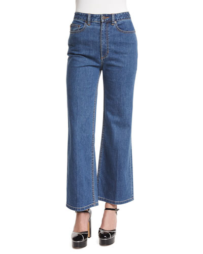 High-Rise Wide-Leg Cropped Jeans, Bright Blue