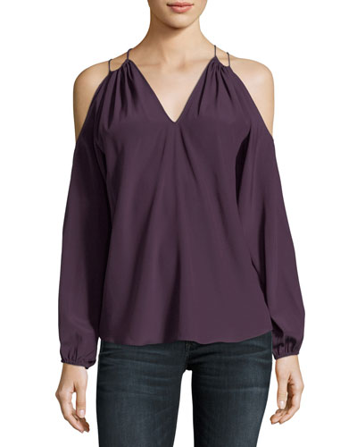 Gigi Cold-Shoulder Silk Top