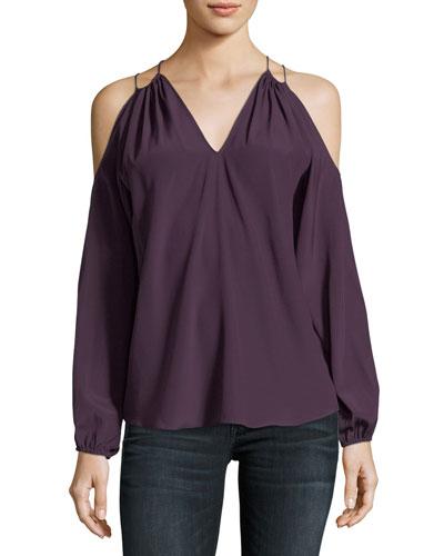 Gigi Cold-Shoulder Silk Top
