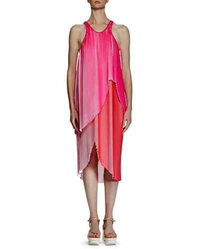 Primrose Sleeveless Racerback Plisse Dress, Pink/White