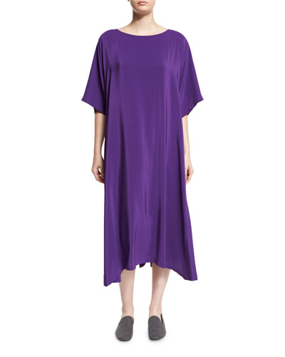 Boat-Neck Silk T-Shirt Dress, Purple