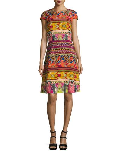 Ribbon-Print Cap-Sleeve A-Line Dress, Red/Multi