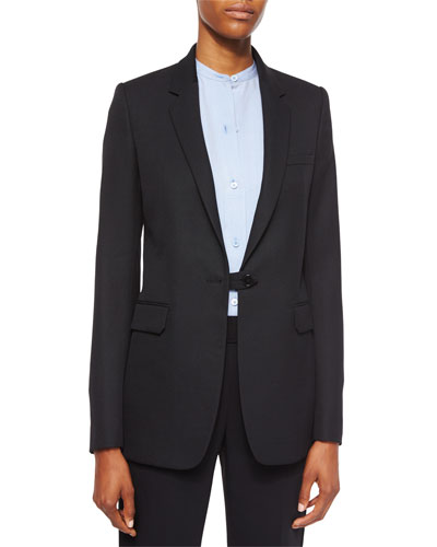 Wool Button-Tab Long Blazer, Black