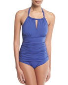 Pearl Solid Halter One-Piece Swimsuit
