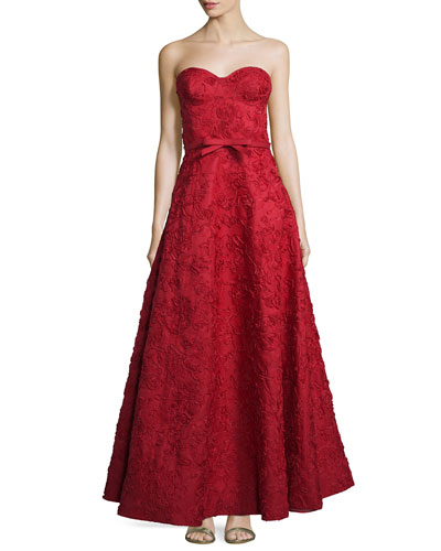 Strapless Bustier Floral-Embroidered Gown, Crimson