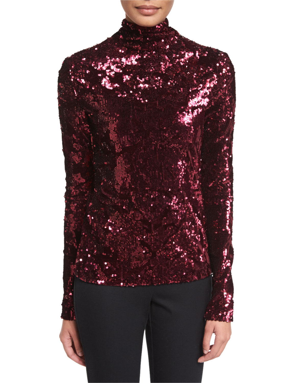 Ladina Sequined Turtleneck Top, Burgundy
