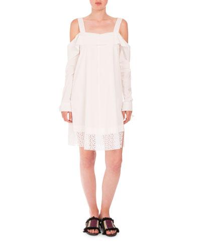 Cold-Shoulder Eyelet-Hem Dress