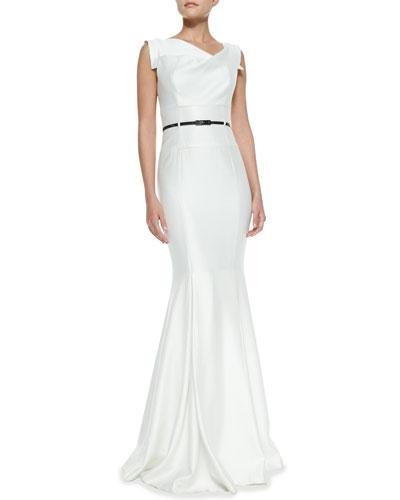 Asymmetric-Neck Mermaid Gown