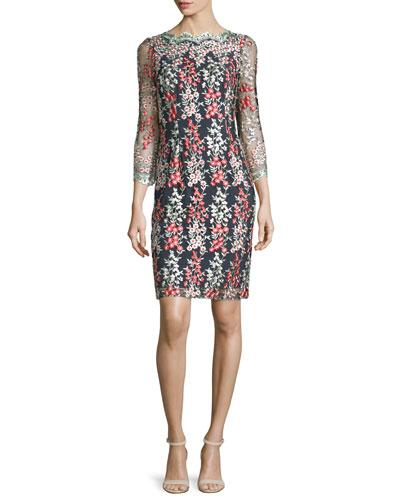 Garland Wisteria-Embroidered Sheath Dress, Black/Multi
