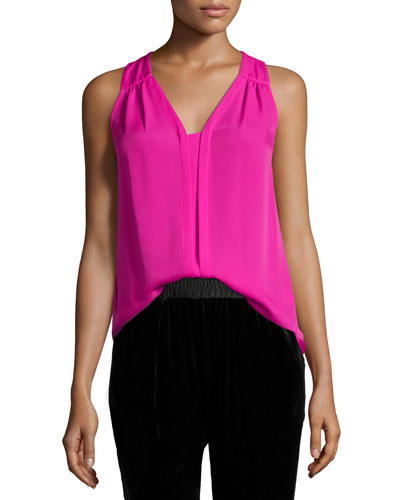 Perry Shirred Silk Top, Orchid Pink