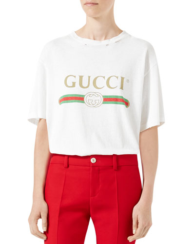 Gucci-Print Cotton Tee, White