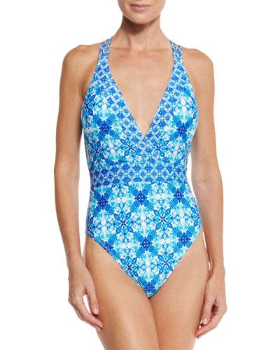 True Blue Cross-Back One-Piece Swimsuit