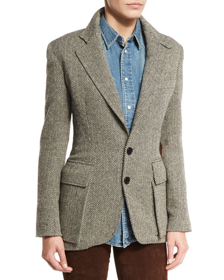 Ralph Lauren Collection The Tweed Jacket, Black/White