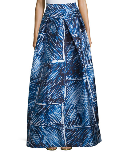 Full Abstract Printed Ball Skirt, Blue