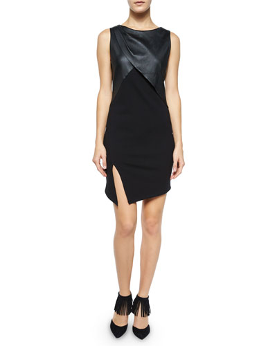 Sleeveless Ponte Dress w/Slit, Black