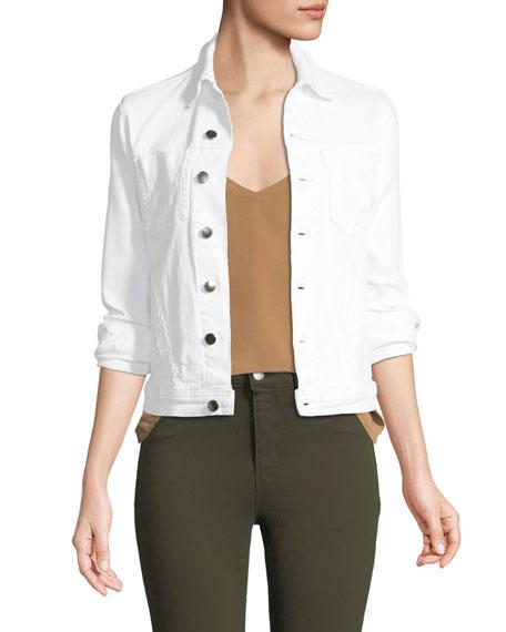 L'Agence Celine Button-Front Denim Jacket