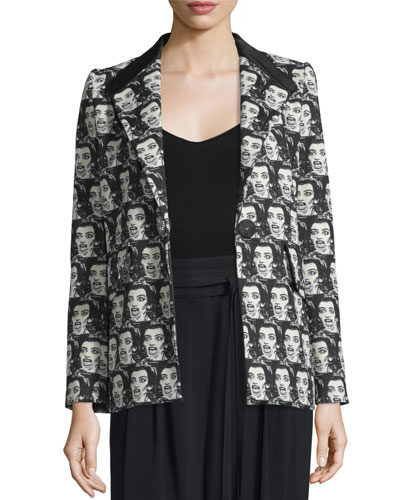 Maria Callas One-Button Jacket, Black/White