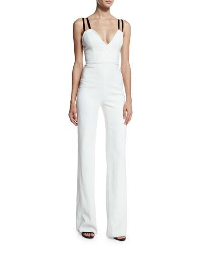 Deep-V Wide-Leg Jumpsuit, White