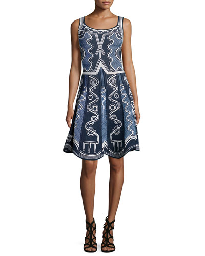 Sleeveless Intarsia Tank Dress, Navy