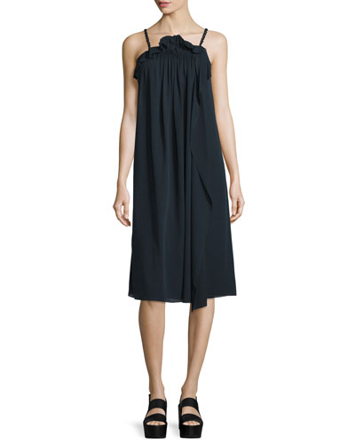 Silk Picot-Trim Shift Dress, Phantom Blue