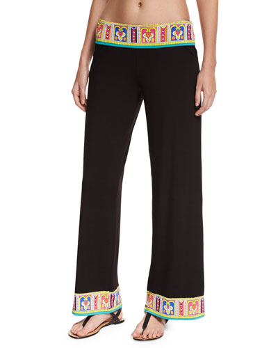 Nepal Wide-Leg Beach Coverup Pants, Multi