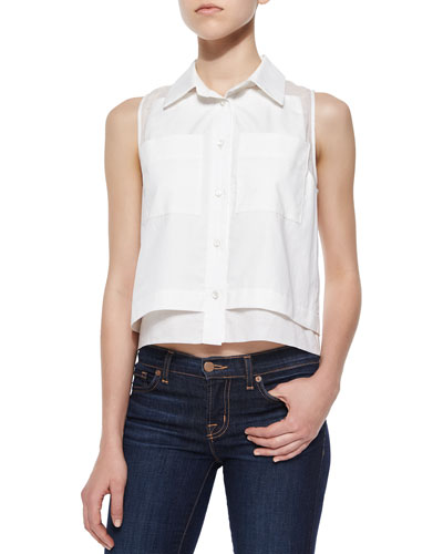 Norway Sleeveless Combo Blouse, White