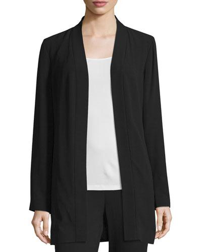 Silk Georgette Kimono Jacket, Black
