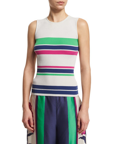 Eli Striped Stretch Tank, Putty/Multicolor
