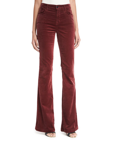 Maria Flare Velvet Pants, Wine