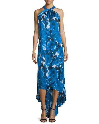 Sleeveless Floral-Print High-Low Gown