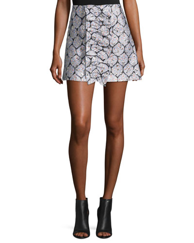 Patterned Ruffle Mini Skirt, Blue/Silver