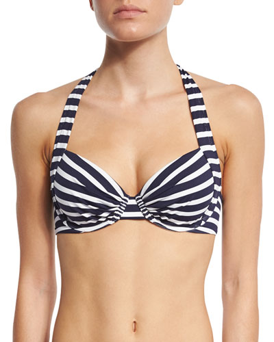 Breton-Striped Underwire Swim Top, Available in DD Cup