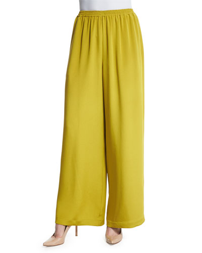 Flare-Leg Silk Crepe Trousers, Dark Olive Oil
