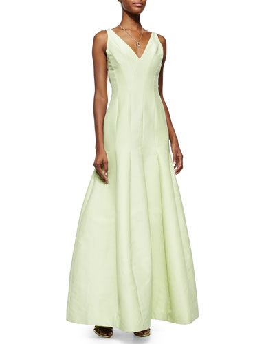 Sleeveless V-Neck Mermaid Gown, Pistachio