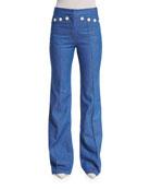 High-Waist Flare-Leg Denim Pants, Bright Blue