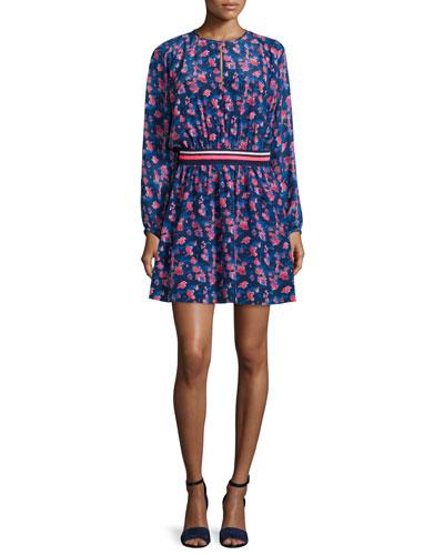Anna Long-Sleeve Floral Dress, Navy
