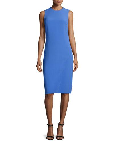 Sleeveless Jewel-Neck Faux-Wrap Dress, French Blue