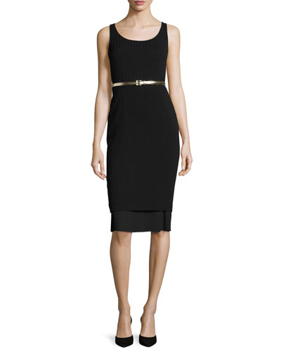 Park Striped Sleeveless Sheath Dress, Black